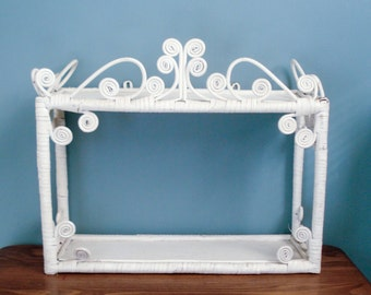 Two tier white wicker shelf
