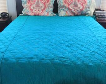 Vintage MCM Teal Bedspread Mod Quilted 60s Palm Springs