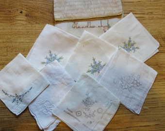 vintage hand embroidered handkerchief pouch and 7 hankies