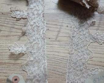 two 6 yd lengths of vintage ecru lace (12 yds total)
