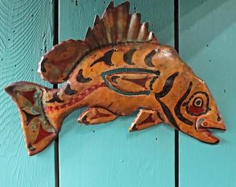 Rockfish Spirit - copper metal ocean fish tribal wall art sculpture - Pacific Northwest Coast Indian inspired - turquoise blue patina - OOAK