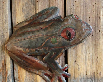 Red-eyed Tree Frog - copper metal treefrog amphibian art sculpture - wall hanging - with verdigris blue-green, red, and aged patinas - OOAK
