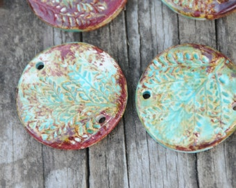 Essential Oil Diffuser Pendant Bead for Aromatherapy in Worldly Mix of Turquoise and Copper Brown with a Leaf Pattern