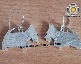 950 Silver Earrings Scottish Terrier Jock FREE SHIPPING Worldwide