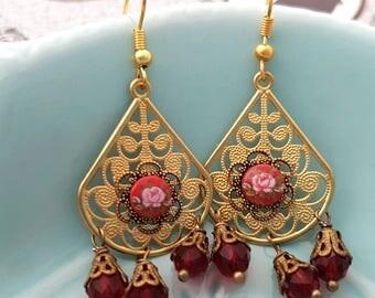 Red Flower Golden Dangly filigree earrings