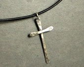Black Friday Sale Cyber Monday Sale Sterling Silver Cross Necklace, Rustic Cross, Eco Friendly Jewelry, , Gifts for Teen Gifts for Her