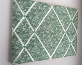 """Forest Green Paisley 16""""x20"""" Memory Board, Memo Board, Vision Board, Photo Display, Business Card Display, Bow Holder, Bow Board"""