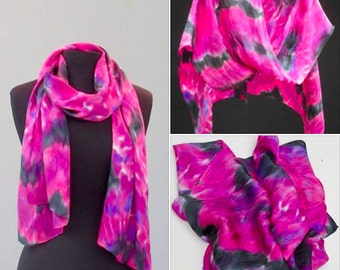 Pink Aster Shibori Silk Scarf