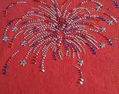 4th of July Fireworks Tee New Americana Patriotic USA Rhinestone Shirt Sizes Small thru 3XL Plus Sizes Too FREE Shipping