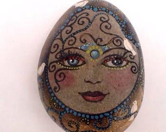 BIRD GIRL hand painted decorative original rock art for home or garden by Motyl