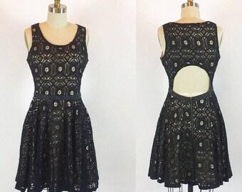 "Vintage 80s Black Crochet Open Back Dress | 28"" Waist"