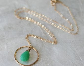 Chrysoprase Briolette Necklace, Hammered Pendant, Green Stone Necklace, Pendant Necklace, Gold Necklace, Simple Necklace