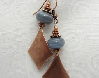 Lampwork Earrings Gray Lampwork Dangle Earrings Glass Bead Earrings Drop Earrings Copper Charm Dangle SRAJD USA Handmade