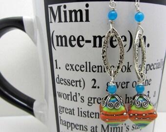 Lampwork Earrings Bicone Shaped Orange Turquoise Blue Lime Green Earrings Glass Bead Earrings Mothers Day Gift Dangle Drop Earrings SRAJD