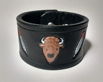 Black Leather Wrist Cuff Bracelet Native American Inspired Buffalo Feathers