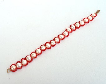 Pearls and coral bracelet Beadwork white and red bracelet Real white pearls and red coral beads bracelet Free shipping worldwide B119