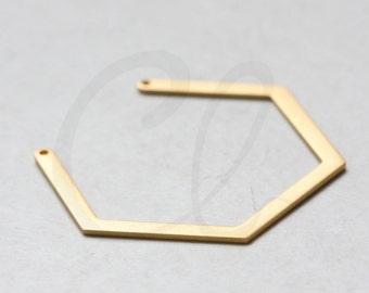 One Piece Premium Matte Gold Plated Brass Base Geometry Pendant- 40x33mm (3122C-Q-405)