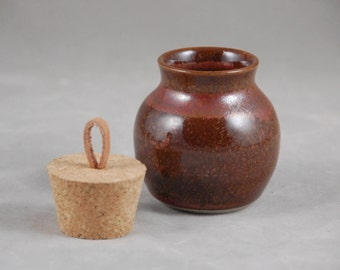 Small Bottle with Cork Lid in Brick Treasure Jar Intentions Keeper
