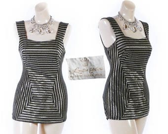 40% OFF SALE Vintage 50s Swimsuit // 1950s Swimsuit // GOLD Swimsuit // Striped Swimsuit // Limited Edition Rose Marie Reid - sz S/M
