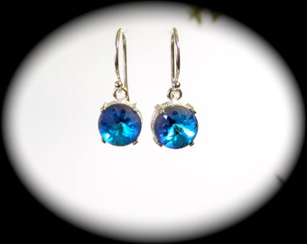 Swarovski Sea Urchin Crystal Earrings Sterling Silver French Hook Ear Wires in 3 Color Choices