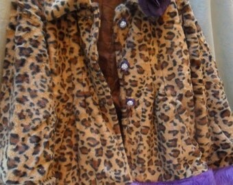 25% OFF Love my customers JACKET Cropped Leopard Boho Recyled Faux Fur Trims Whimsical Rhinestones