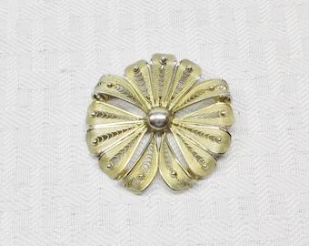 1960s Vintage Stanco Sterling Gold Tone Flower Brooch Pendant