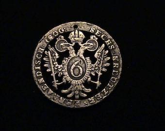 AUSTRIA - 1800 - cut coin jewelry - Two headed Eagle