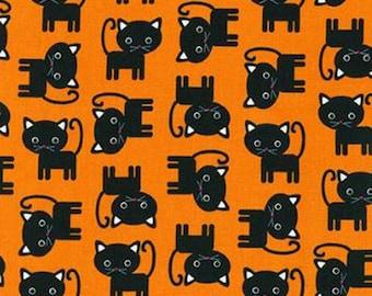 One (1) Yard -Black Cats Urban Zoologie Robert Kaufman Fabrics AAK-15724-8 Orange