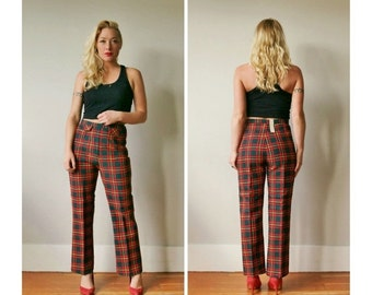 ON SALE Deadstock, 1960s Autumn Plaid Trousers~Size 2/4