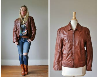 1970s Wilsons Leather Jacket /// Women's Size md to lg /// Men's Size sm to md