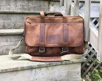 Leather Briefcase Messenger Bag Mens Carryall bag Vintage Leather Satchel