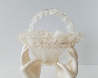 Vintage Flower Girl Lace Rose Petal  Basket for Wedding