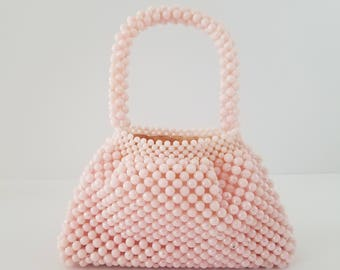 Vintage Girls Pink Beaded Purse