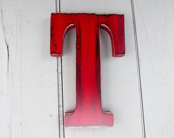rustic  wood letter t 8 inch distressed shabby chic nursery or wedding decor chalk paint choice of colors