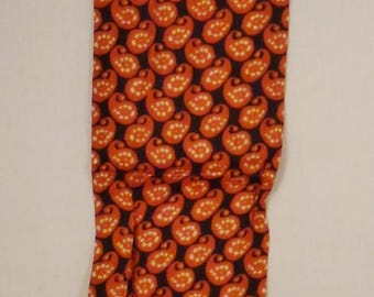 Vintage rayon SCARF Shades of orange and black paisley shapes 36 x 6 1/2 great condition