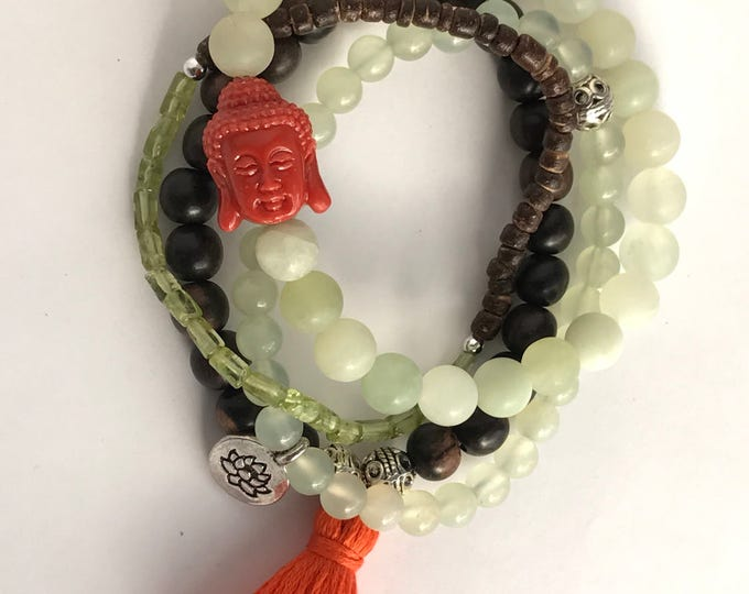 stack mala jade peridot gemstone bracelets wih charm buddha, yoga bracelet, tassel bracelet, jade bracelet, set of bracelets, buddha charm