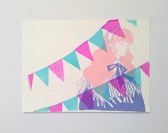 The Girl at the Buntings - silkscreen print