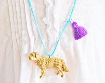 Kids Dog Necklace. Kid necklace. Labradoodle. Girls Dog Necklace. Girl necklace. Gift for Dog Lover. Pet necklace. Tassel Necklace.