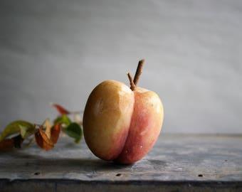 Vintage Italian Alabaster Peach Stone Fruit Mid Century Kitchen Dining Room Decor
