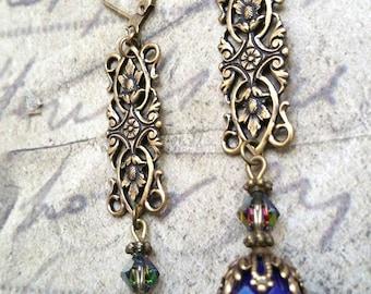 Bronze neo victorian blue earrings