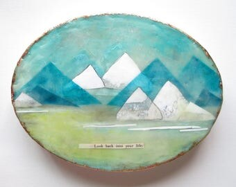 Landscape painting, mountain painting, encaustic painting, aqua mountain range, snow capped mountains, oval painting