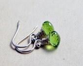 Peridot Earrings, Peridot Jewelry, August Birthstone, Drop Earrings, Sterling Silver, Dangle Earrings, Birthstone Jewelry, Wire Wrapped