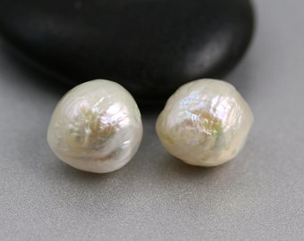 Baroque Pearl Beads - 13mm - Baroque Pearls - White Ripple Pearl Pair