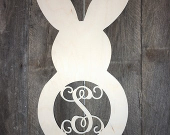 Easter Bunny Monogram Wooden Wall Hanging, Door Hanging, Personalized, Spring, Unfinished