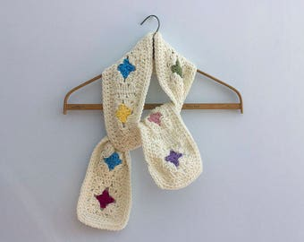 Crocheted Granny Square Scarf,  Off White and Pastel Women's Scarf, Crochet Scarf, Ready to Ship