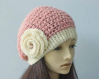 Flower Slouchy Hat, Custom Chose Color, Winter Hat, Woman's Hat, Crochet Hat