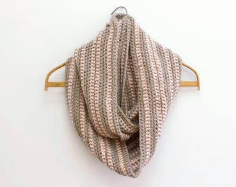 SALE, Long Wool Circle Scarf, Hand Crochet Infinity Scarf,  Beige, Gray, Pink Cowl Scarf , Ready to Ship