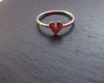Skinny silver heart stacking ring, silver heart , designsbylucy.
