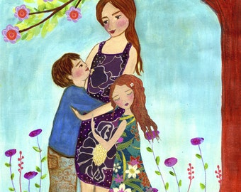 Mother with Son and Daughter Painting, Mother and Child Art Print on Wood, Wooden Art Block, Mother Son Daughter Art, Gift for Mothers Moms