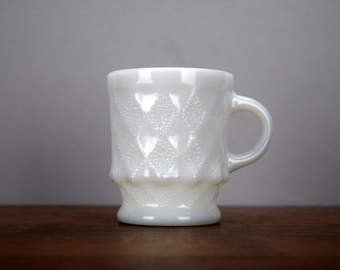 White Fire King Kimberly Coffee Mug Solid White Milk Glass Cup Anchor Hocking